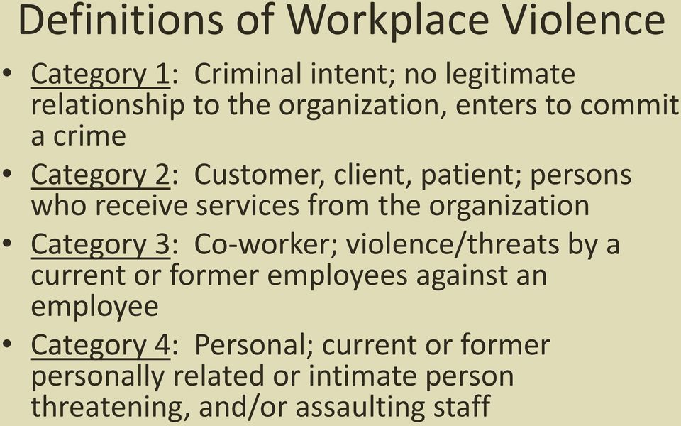 from the organization Category 3: Co-worker; violence/threats by a current or former employees against an