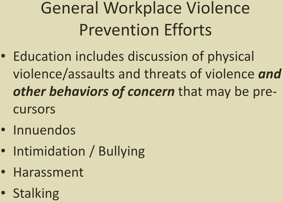 threats of violence and other behaviors of concern that may