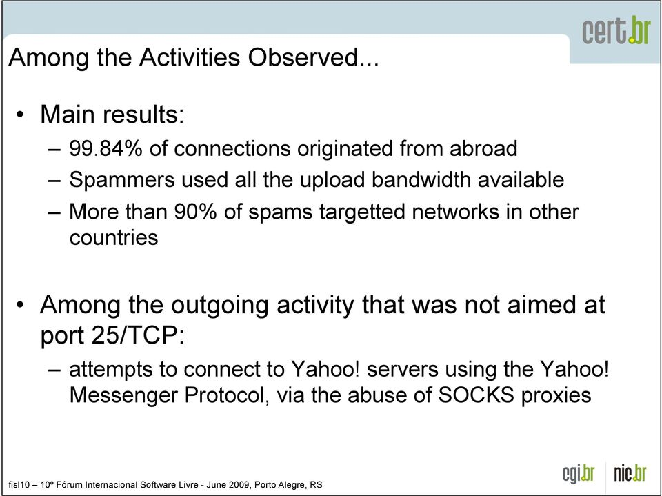 More than 90% of spams targetted networks in other countries!