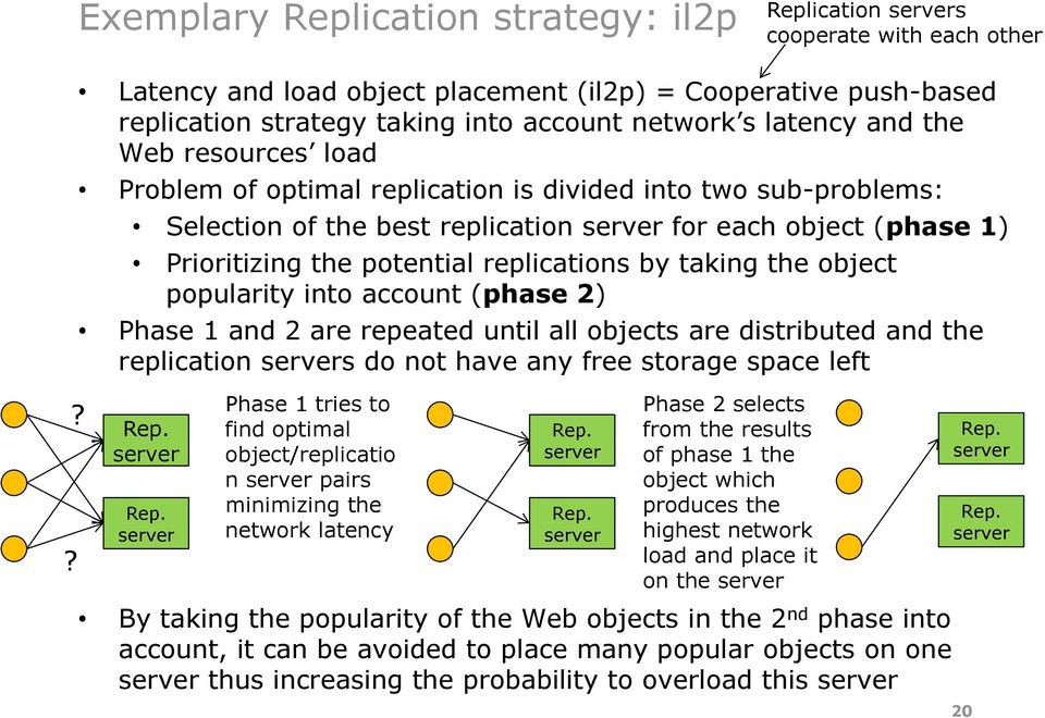 into two sub-problems: Selection of the best replication for each object (phase 1) Prioritizing the potential replications by taking the object popularity into account (phase 2) Phase 1 and 2 are