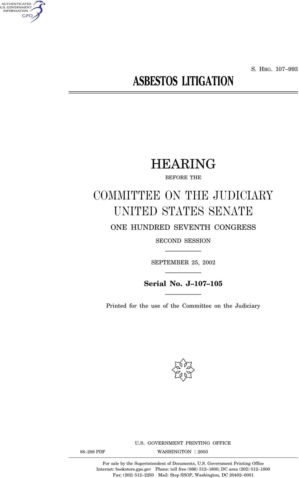 No. J 107 105 Printed for the use of the Committee on the Judiciary ( U.S.