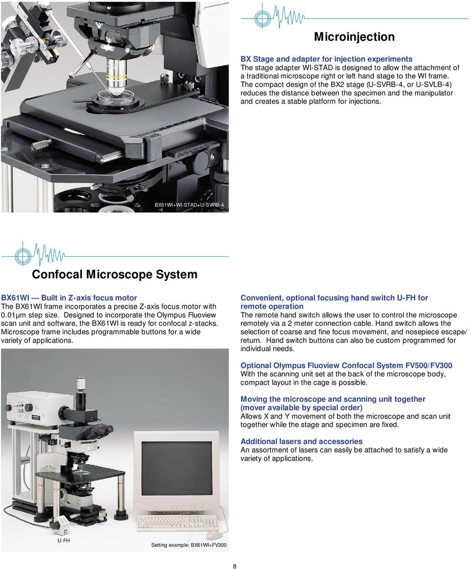 BX51WI+WI-STAD+U-SVRB-4 Confocal Microscope System BX61WI Built in Z-axis focus motor The BX61WI frame incorporates a precise Z-axis focus motor with 0.01µm step size.