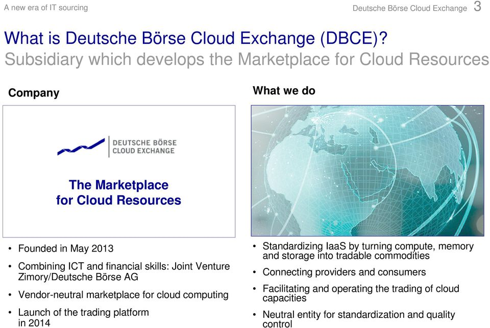 and financial skills: Joint Venture Zimory/Deutsche Börse AG Vendor-neutral marketplace for cloud computing Launch of the trading platform in 2014