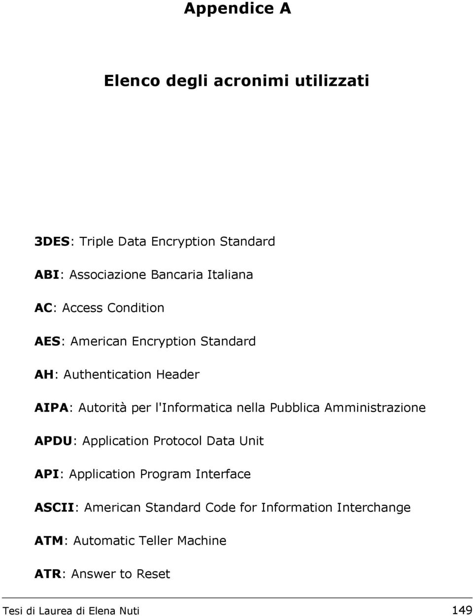 Amministrazione APDU: Application Protocol Data Unit API: Application Program Interface ASCII: American