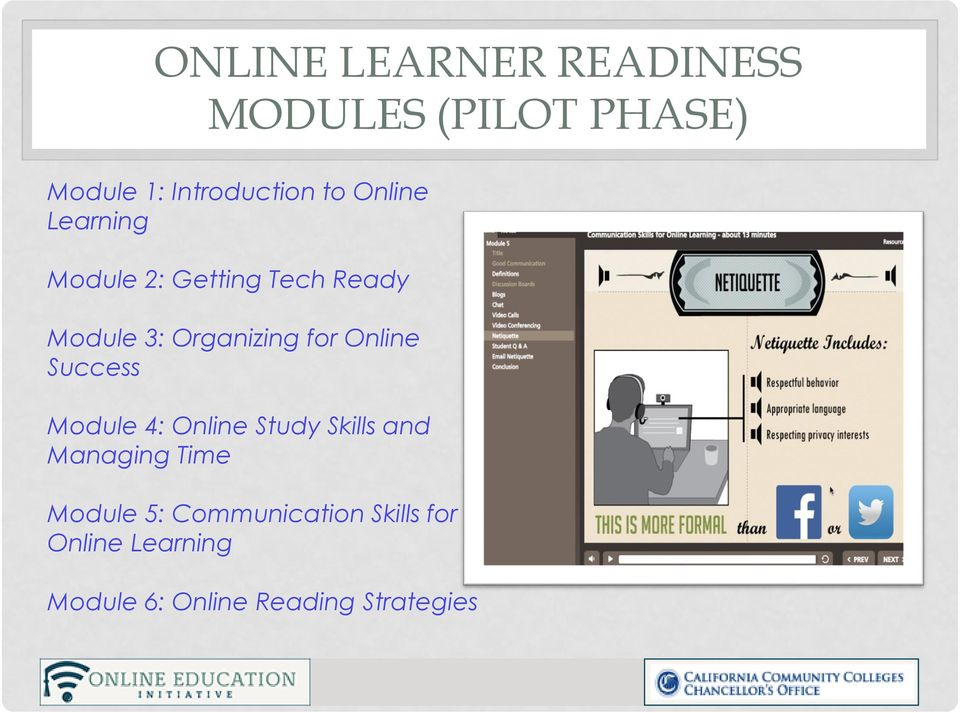 Online Success Module 4: Online Study Skills and Managing Time Module 5: