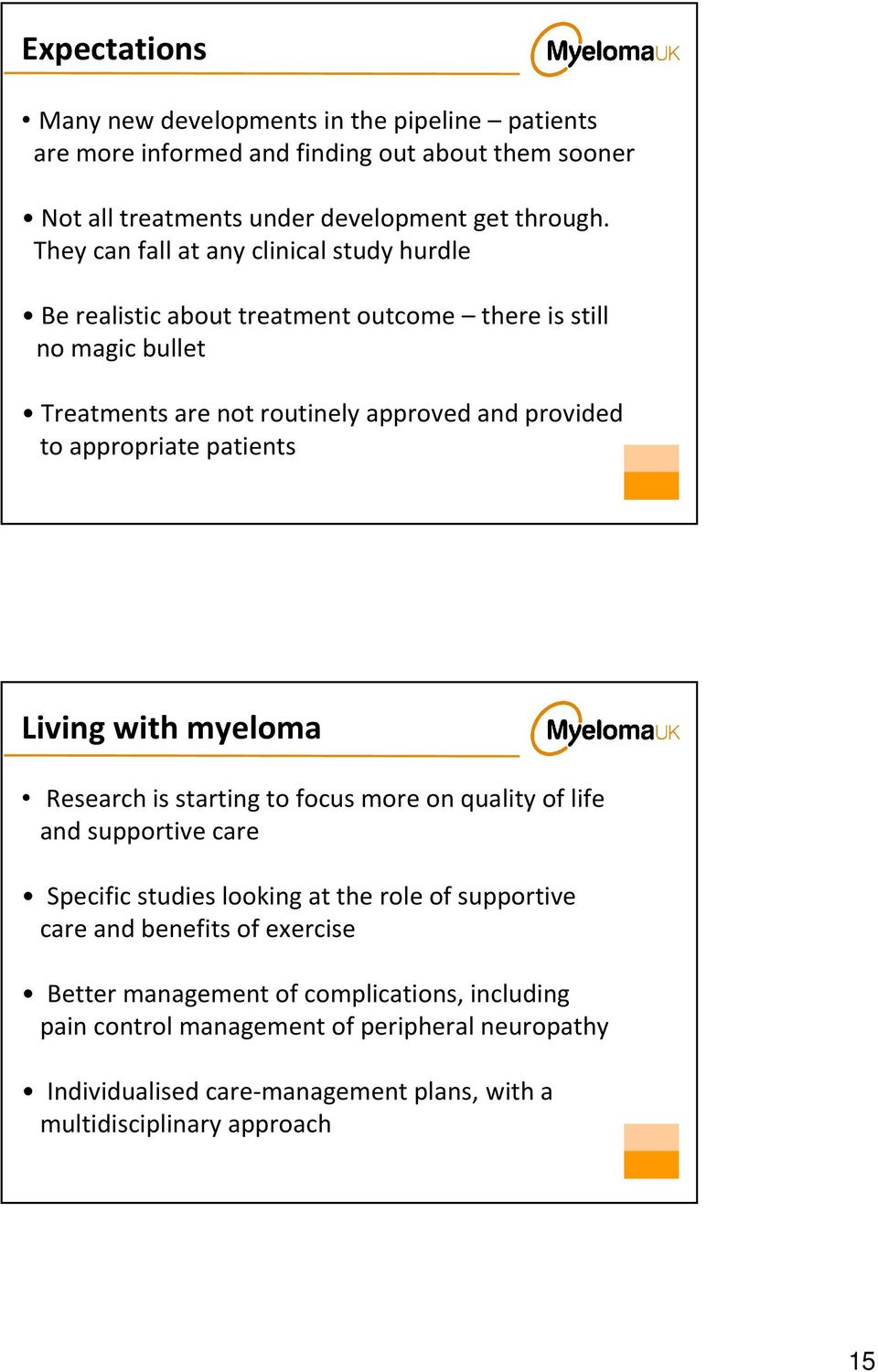 appropriate patients Living with myeloma Research is starting to focus more on quality of life and supportive care Specific studies looking at the role of supportive care