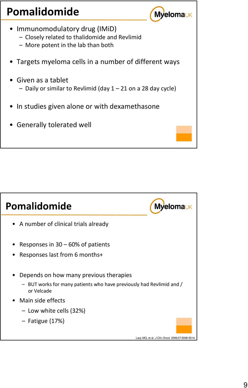 Pomalidomide A number of clinical trials already Responses in 30 60% of patients Responses last from 6 months+ Depends on how many previous therapies BUT works