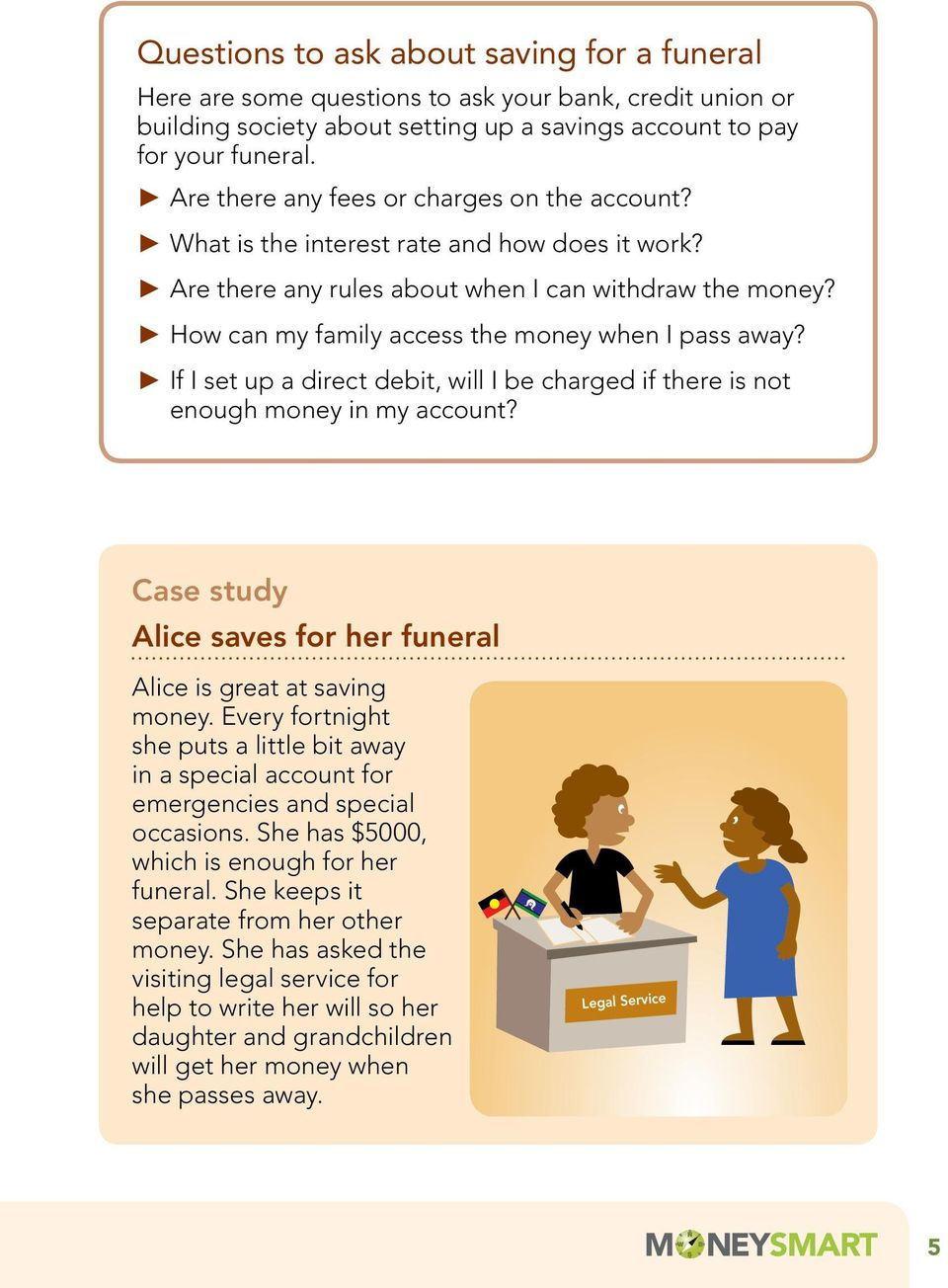 How can my family access the money when I pass away? If I set up a direct debit, will I be charged if there is not enough money in my account?