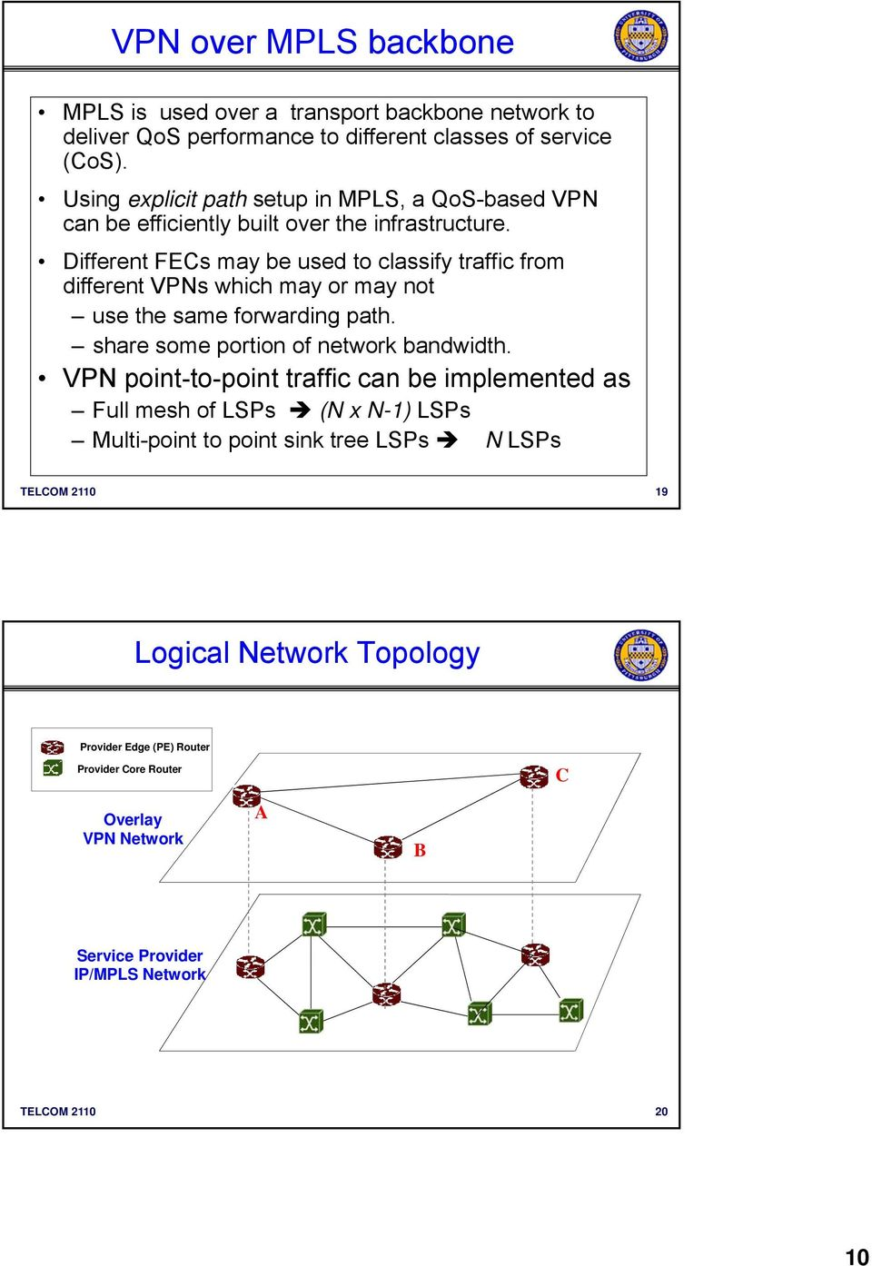 Different FECs may be used to classify traffic from different VPNs which may or may not use the same forwarding path. share some portion of network bandwidth.