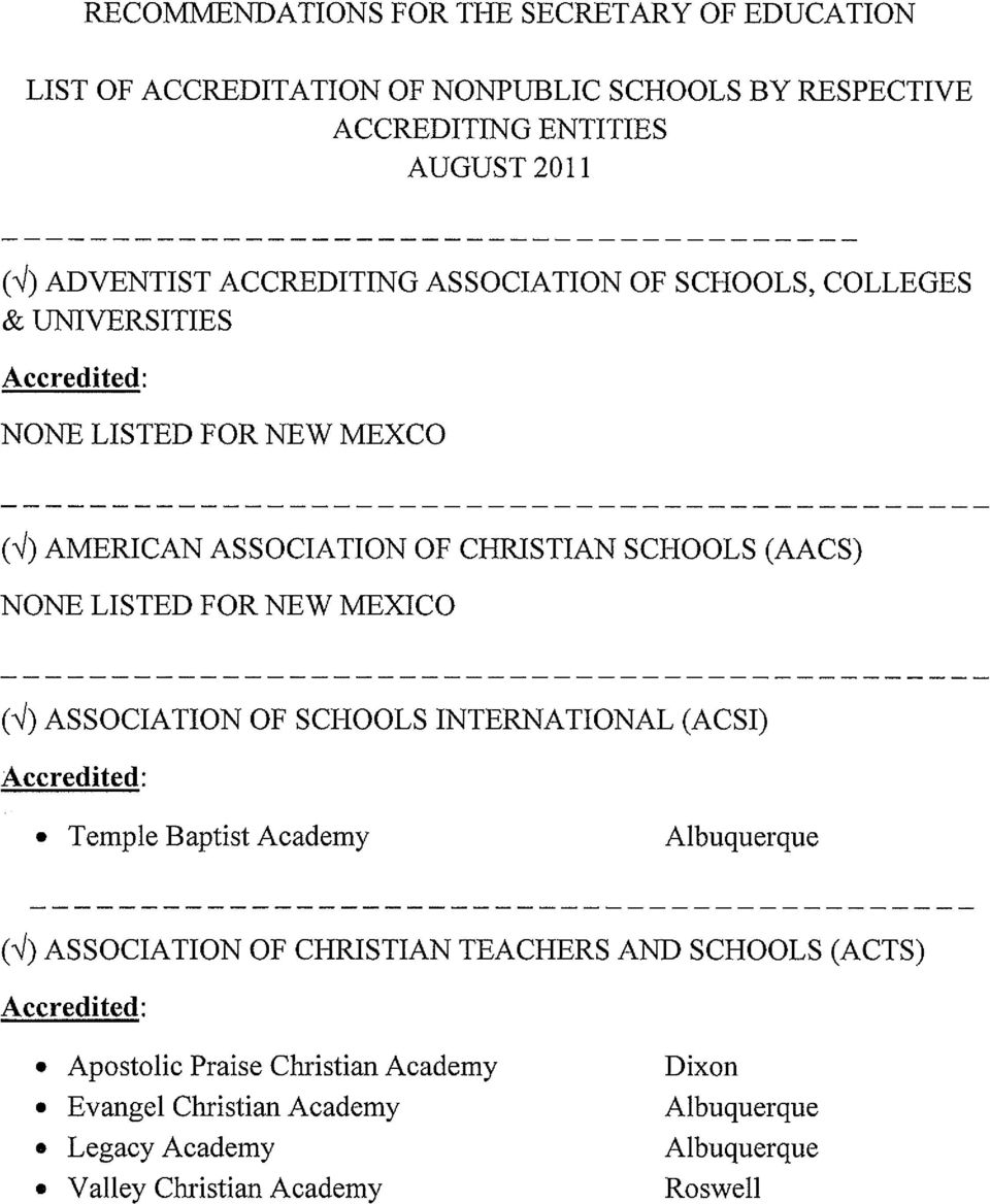 LISTED FOR NEW MEXICO (-Y) ASSOCIATION OF SCHOOLS INTERNATIONAL (ACSI) Accredited: Temple Baptist Academy Albuquerque (-/) ASSOCIATION OF CHRISTIAN TEACHERS