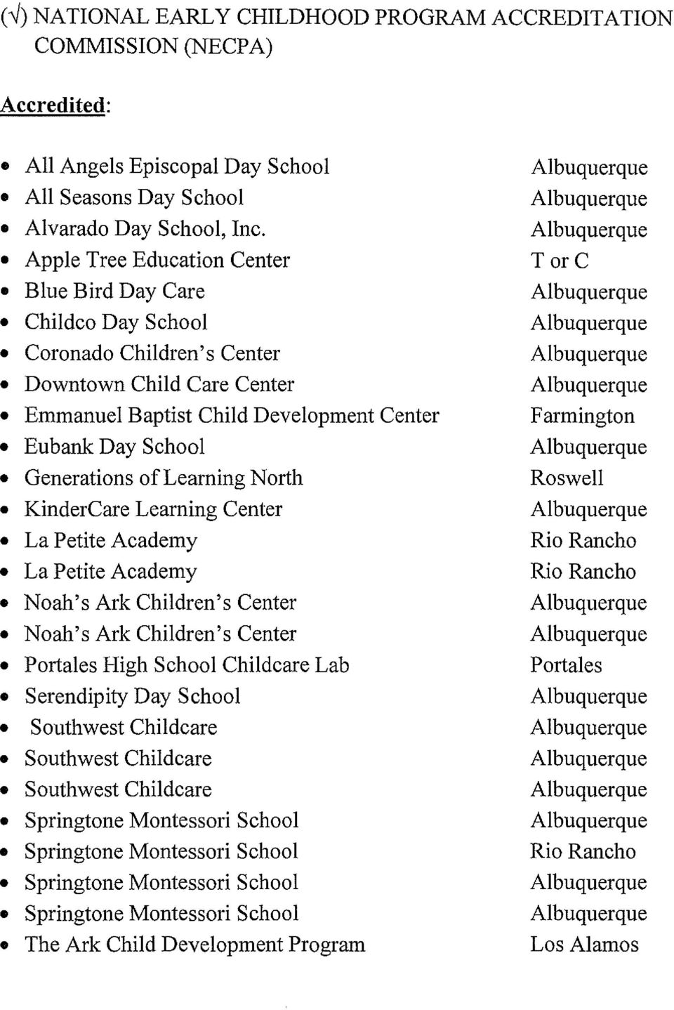 Learning North KinderCare Learning Center La Petite Academy La Petite Academy Noah's Ark Children's Center Noah's Ark Children's Center Portales High School Childcare Lab Serendipity Day School