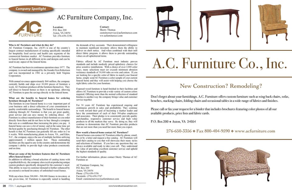 (ACF) is one of the country s largest contract manufacturers of seating specifically intended for hospitality food service and health care segments of the commercial furniture market.
