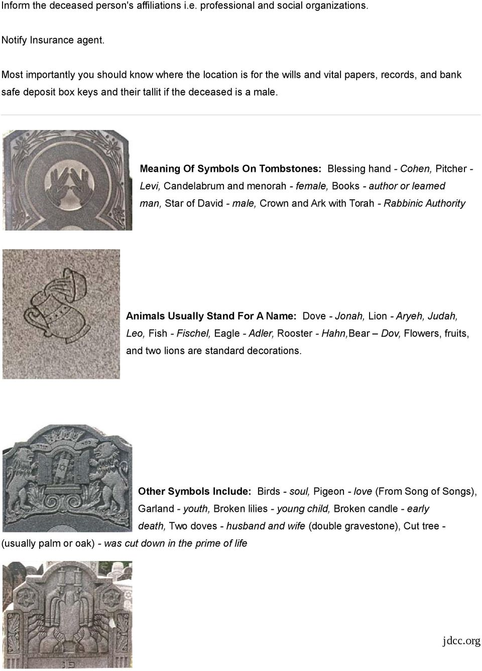 Meaning Of Symbols On Tombstones: Blessing hand - Cohen, Pitcher - Levi, Candelabrum and menorah - female, Books - author or leamed man, Star of David - male, Crown and Ark with Torah - Rabbinic