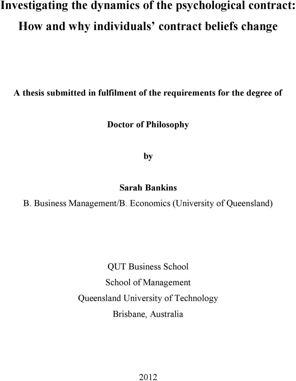of Philosophy by Sarah Bankins B. Business Management/B.