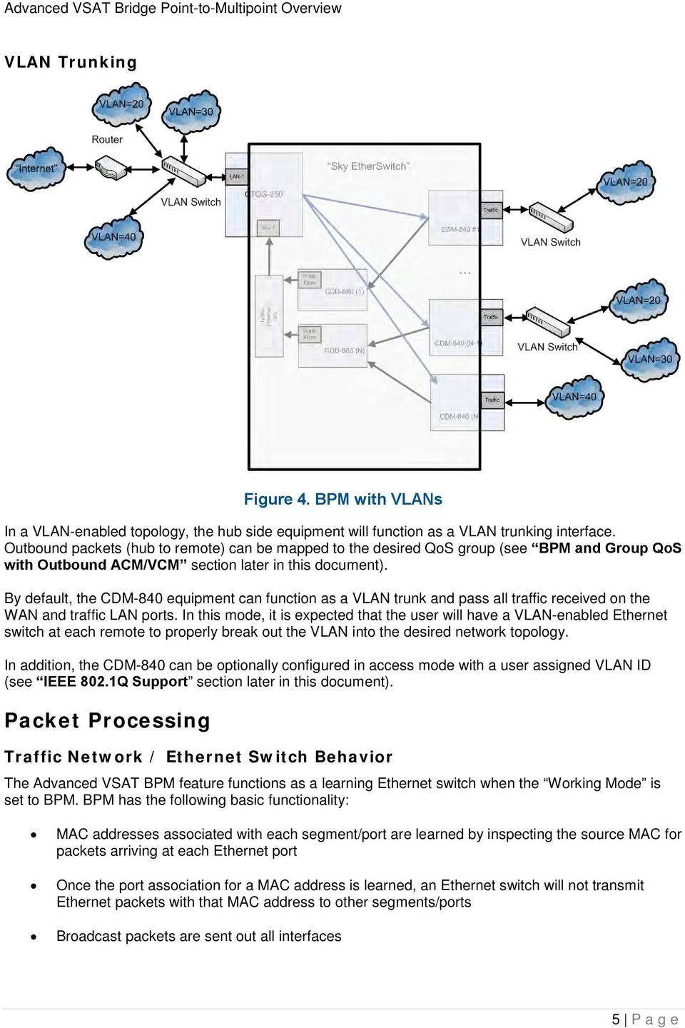 By default, the CDM-840 equipment can function as a VLAN trunk and pass all traffic received on the WAN and traffic LAN ports.
