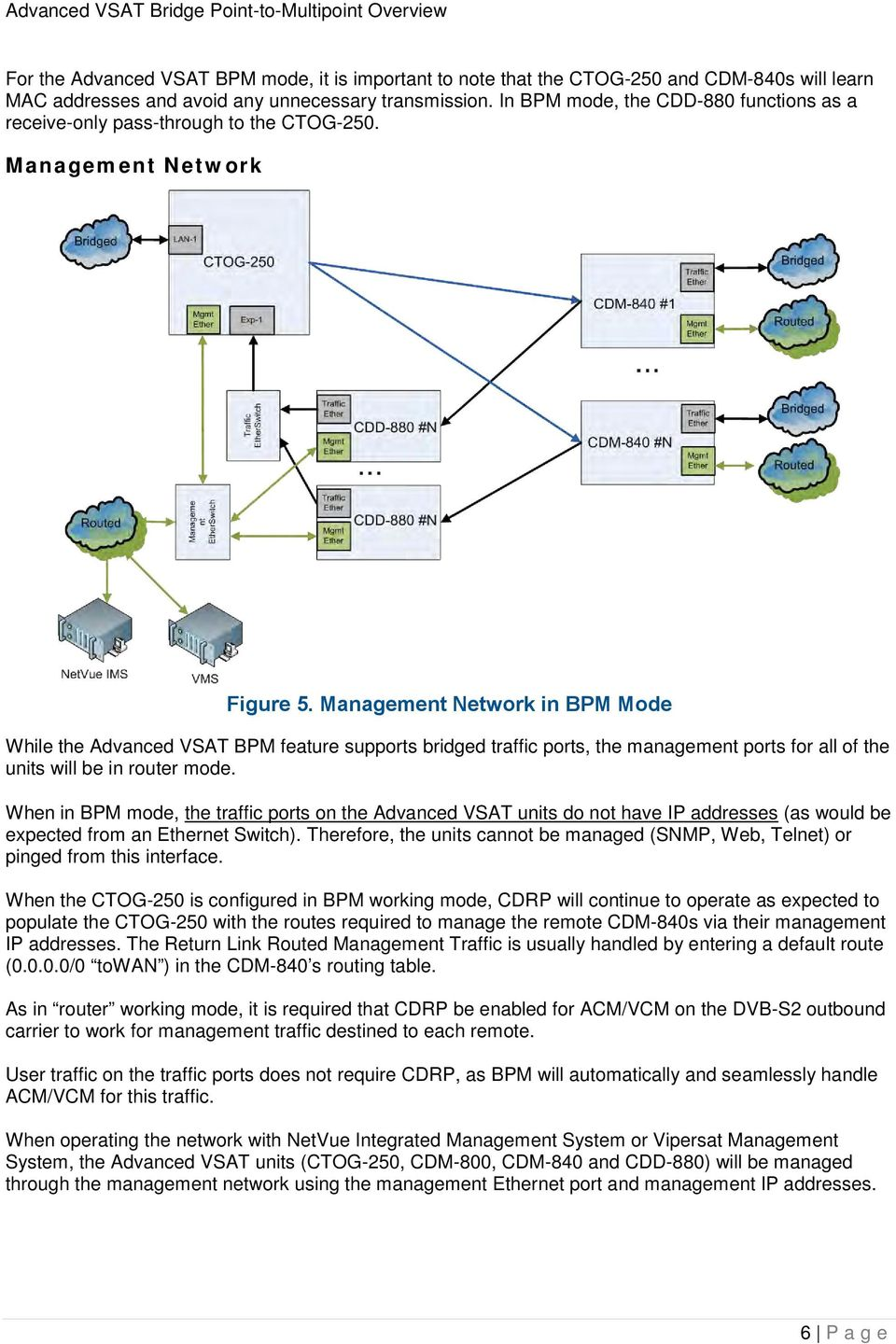 Management Network in BPM Mode While the Advanced VSAT BPM feature supports bridged traffic ports, the management ports for all of the units will be in router mode.