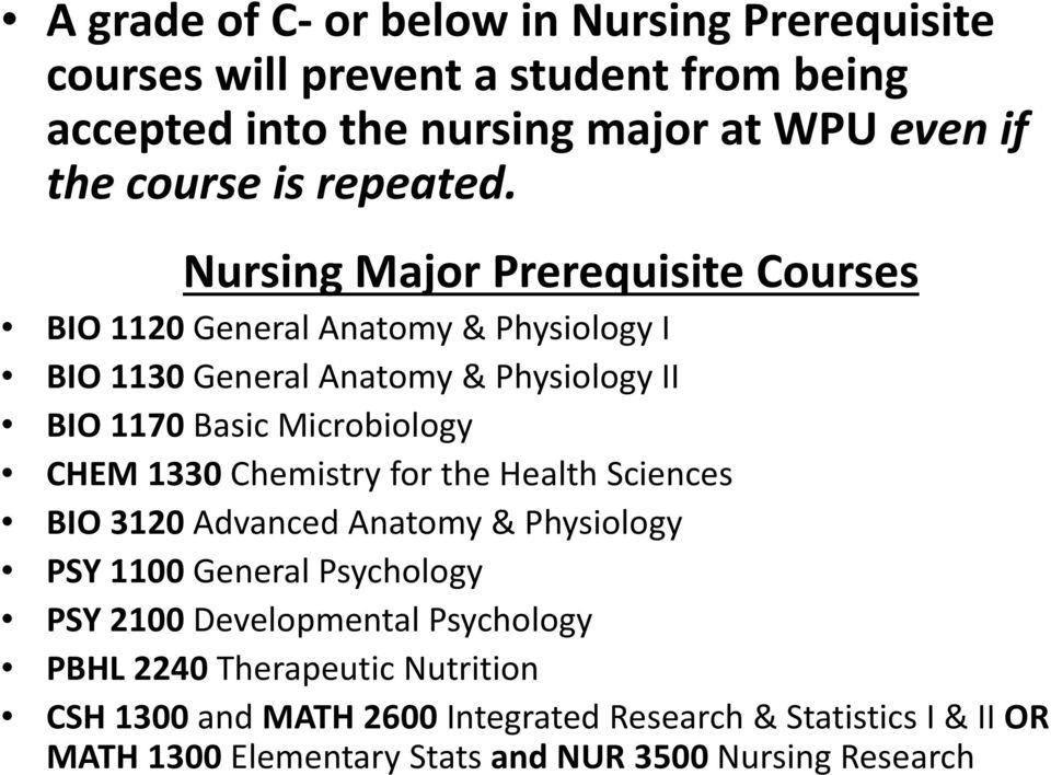 Nursing Major Prerequisite Courses BIO 1120 General Anatomy & Physiology I BIO 1130 General Anatomy & Physiology II BIO 1170 Basic Microbiology CHEM