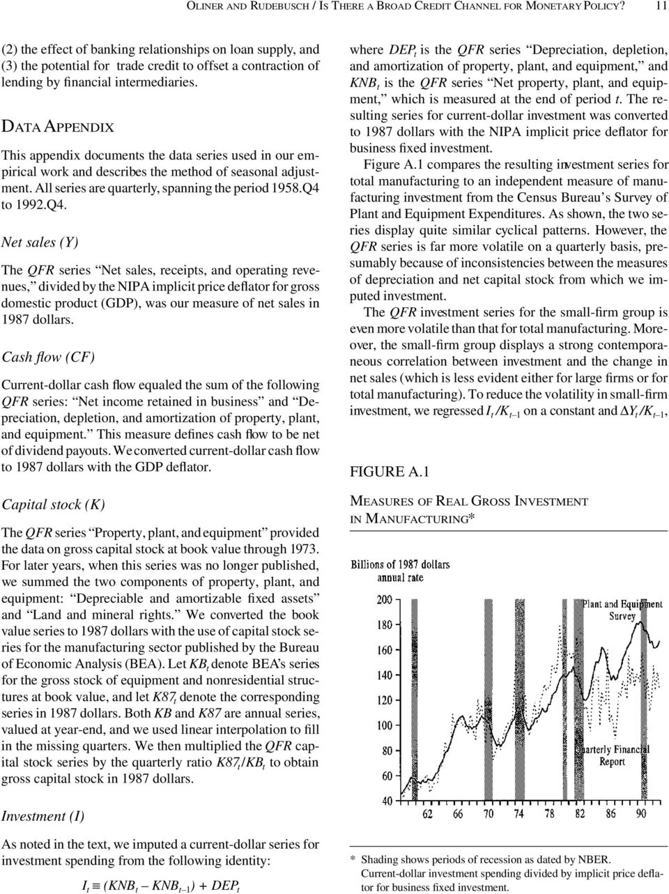 DATA APPENDIX This appendix documents the data series used in our empirical work and describes the method of seasonal adjustment. All series are quarterly, spanning the period 1958.Q4