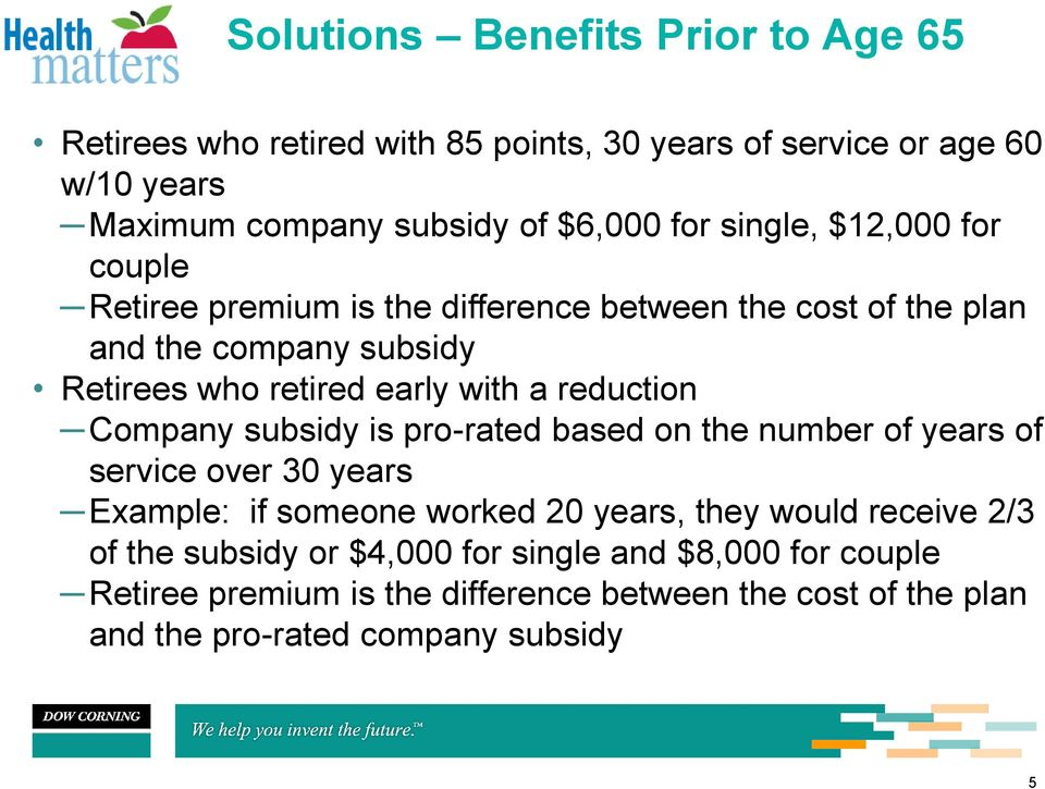 reduction Company subsidy is pro-rated based on the number of years of service over 30 years Example: if someone worked 20 years, they would receive