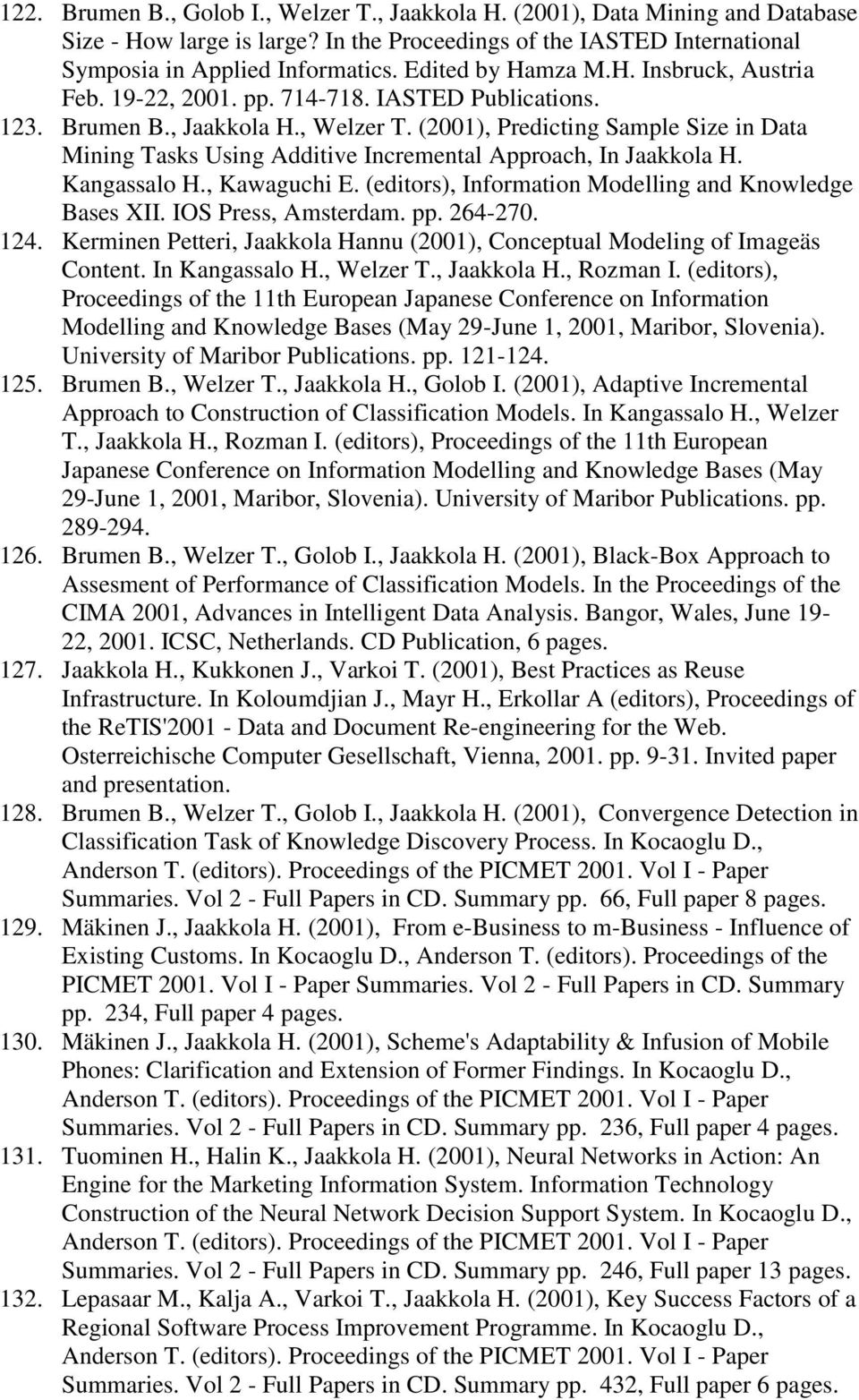 (2001), Predicting Sample Size in Data Mining Tasks Using Additive Incremental Approach, In Jaakkola H. Kangassalo H., Kawaguchi E. (editors), Information Modelling and Knowledge Bases XII.
