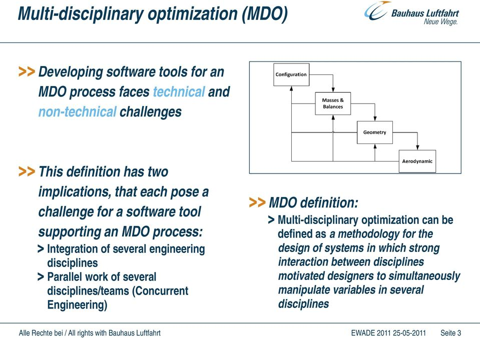 several disciplines/teams (Concurrent Engineering) MDO definition: Multi-disciplinary optimization can be defined as a methodology for the design of