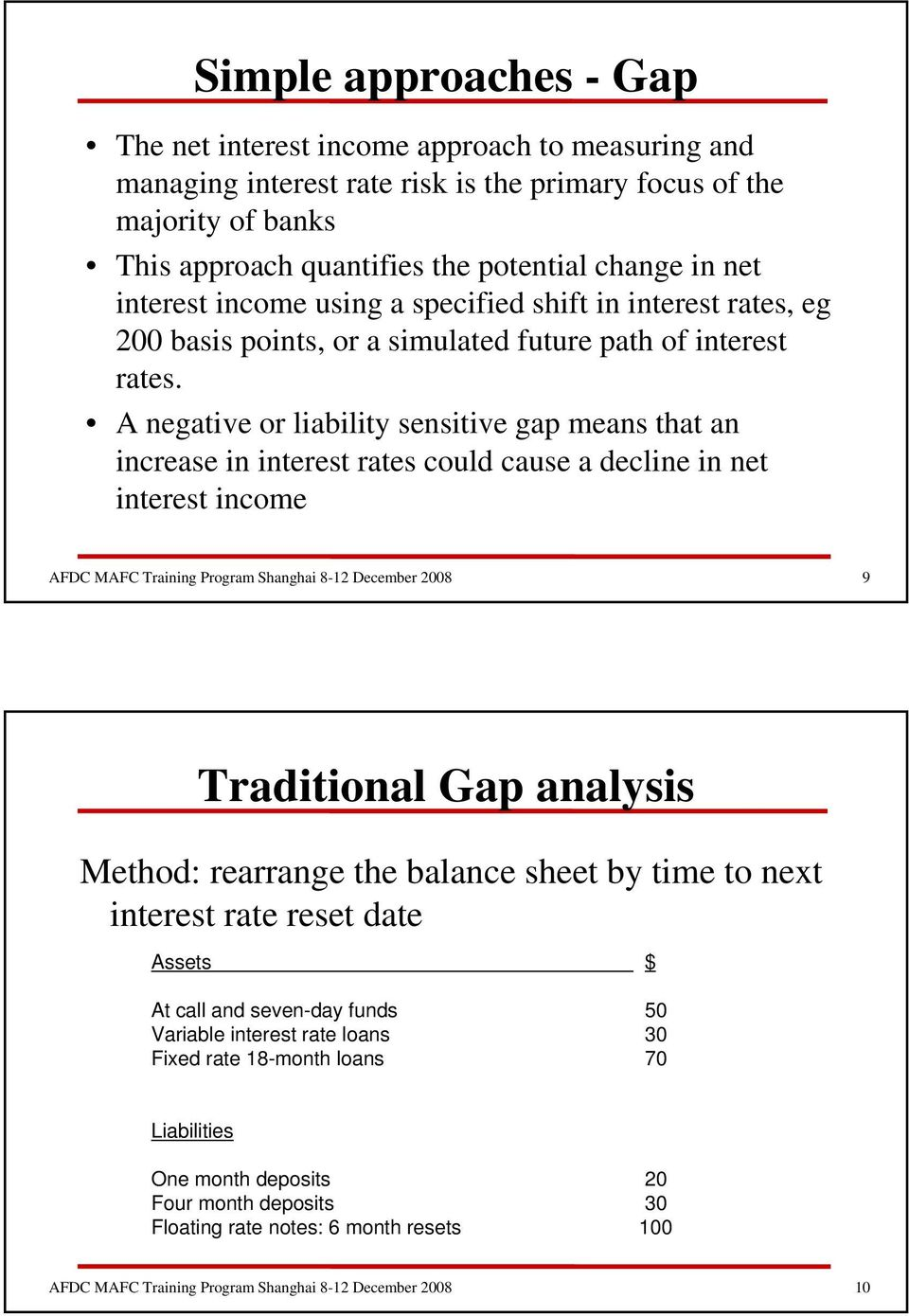 A negative or liability sensitive gap means that an increase in interest rates could cause a decline in net interest income 9 Traditional Gap analysis Method: rearrange the balance sheet