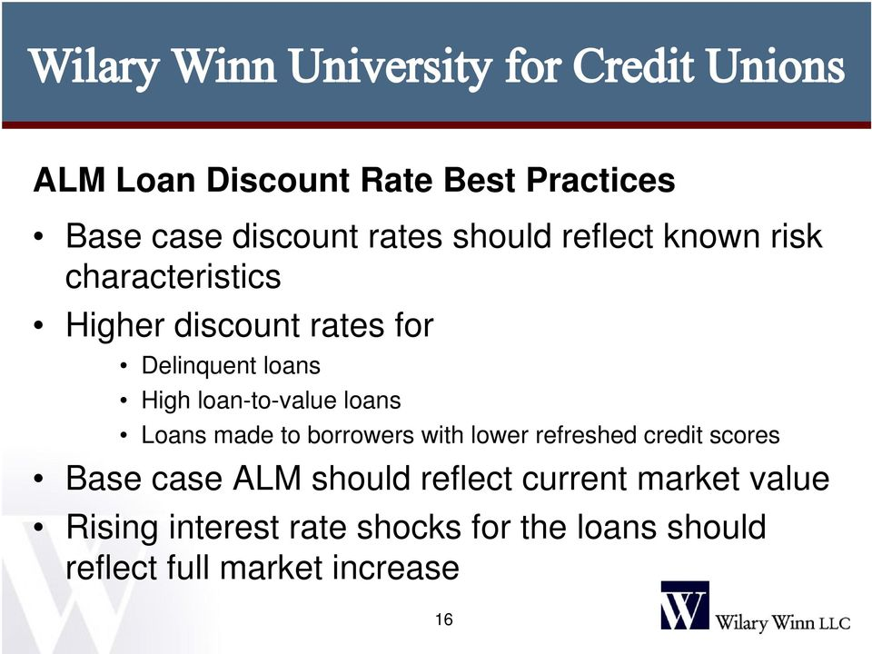 made to borrowers with lower refreshed credit scores Base case ALM should reflect current