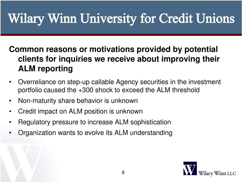 shock to exceed the ALM threshold Non-maturity share behavior is unknown Credit impact on ALM position is