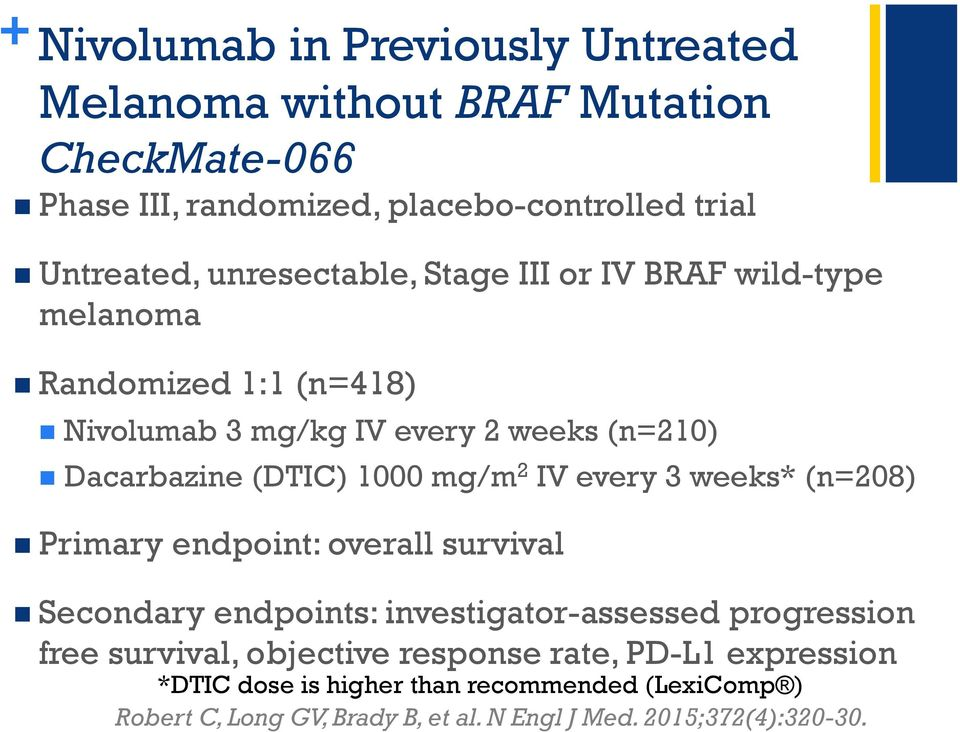 mg/m 2 IV every 3 weeks* (n=208) Primary endpoint: overall survival Secondary endpoints: investigator-assessed progression free survival,