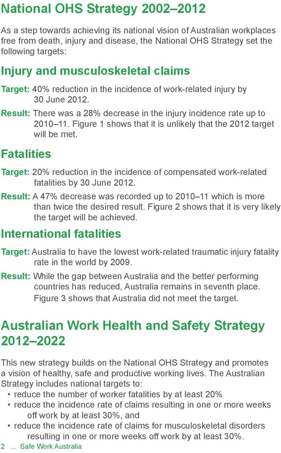 Figure 1 shows that it is unlikely that the 2012 target will be met. Fatalities Target: 20% reduction in the incidence of compensated work-related fatalities by 30 June 2012.