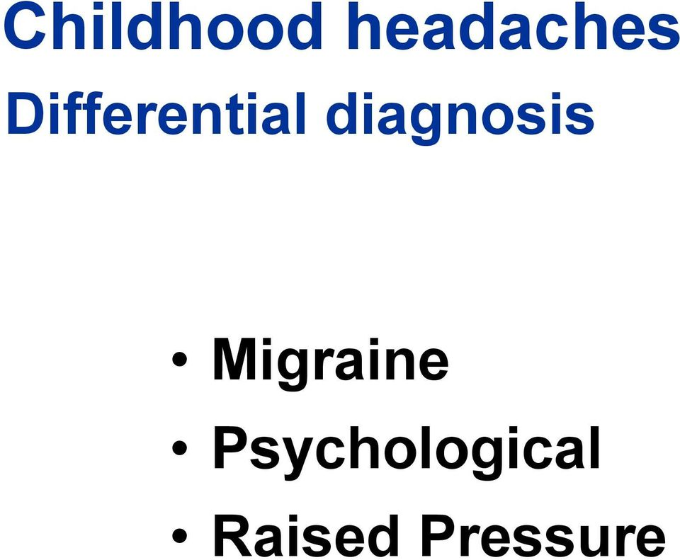 diagnosis Migraine