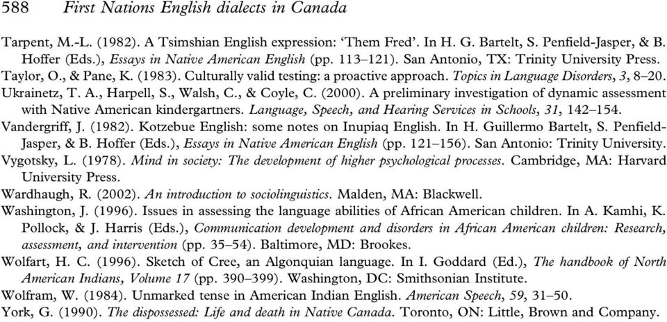 Topics in Language Disorders, 3, 8 20. Ukrainetz, T. A., Harpell, S., Walsh, C., & Coyle, C. (2000). A preliminary investigation of dynamic assessment with Native American kindergartners.