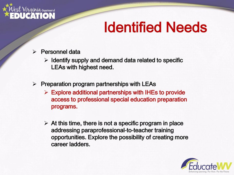 professional special education preparation programs.