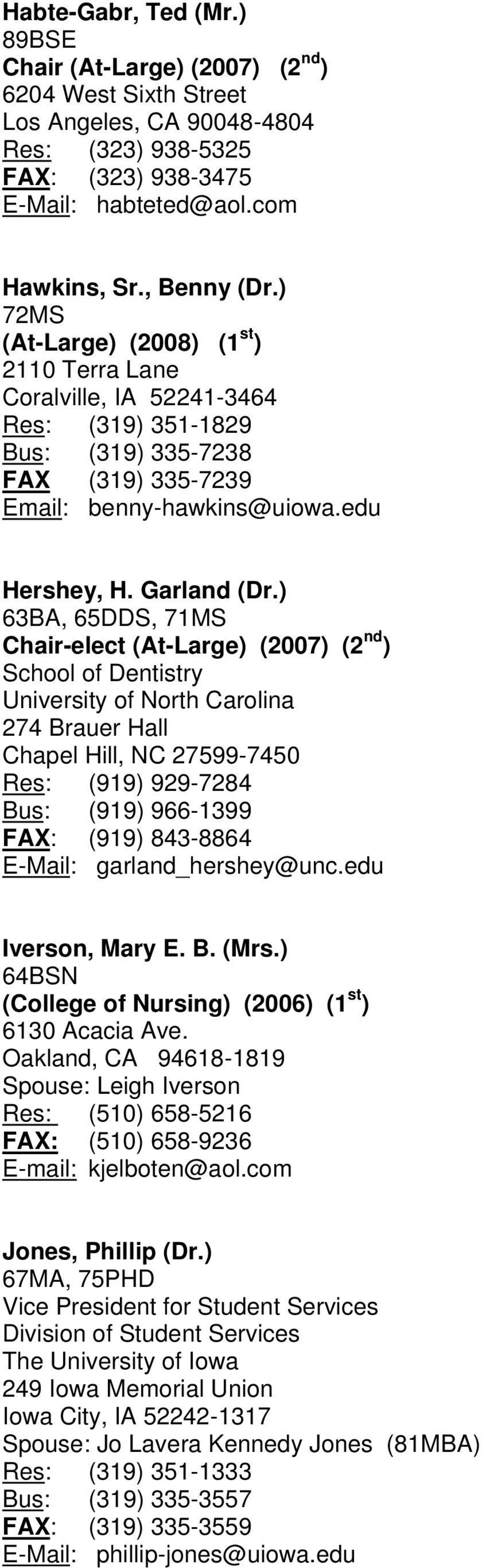 ) 63BA, 65DDS, 71MS Chair-elect (At-Large) (2007) (2 nd ) School of Dentistry University of North Carolina 274 Brauer Hall Chapel Hill, NC 27599-7450 Res: (919) 929-7284 Bus: (919) 966-1399 FAX: