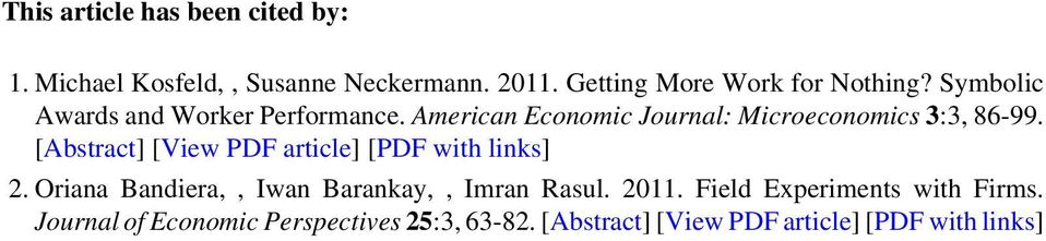 American Economic Journal: Microeconomics 3:3, 86-99. [Abstract] [View PDF article] [PDF with links] 2.