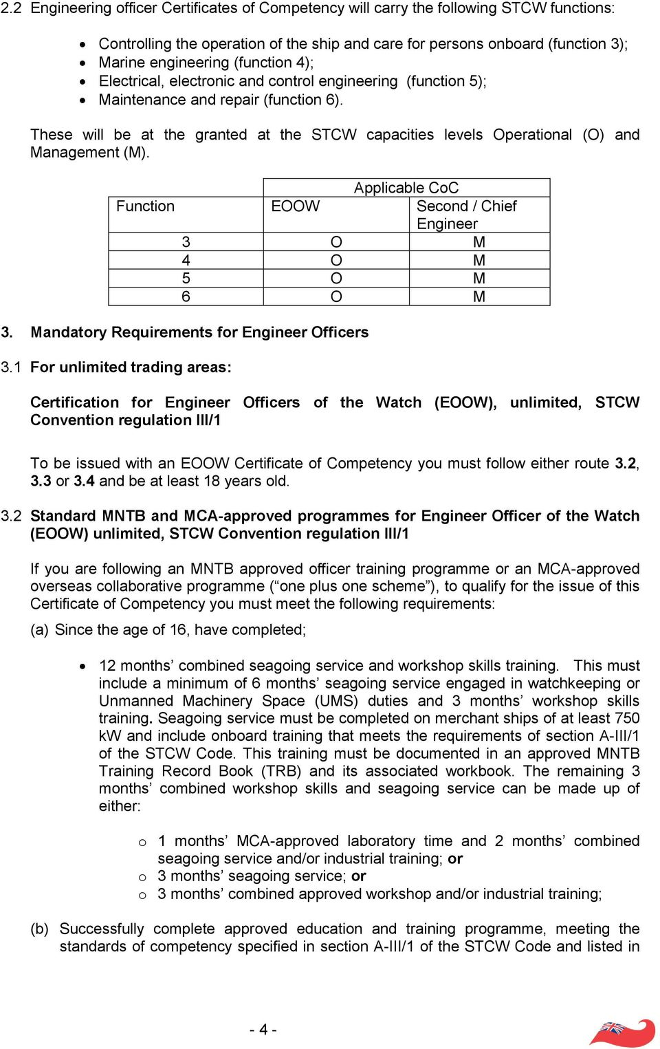 These will be at the granted at the STCW capacities levels Operational (O) and Management (M). Applicable CoC Function EOOW Second / Chief Engineer 3 O M 4 O M 5 O M 6 O M 3.