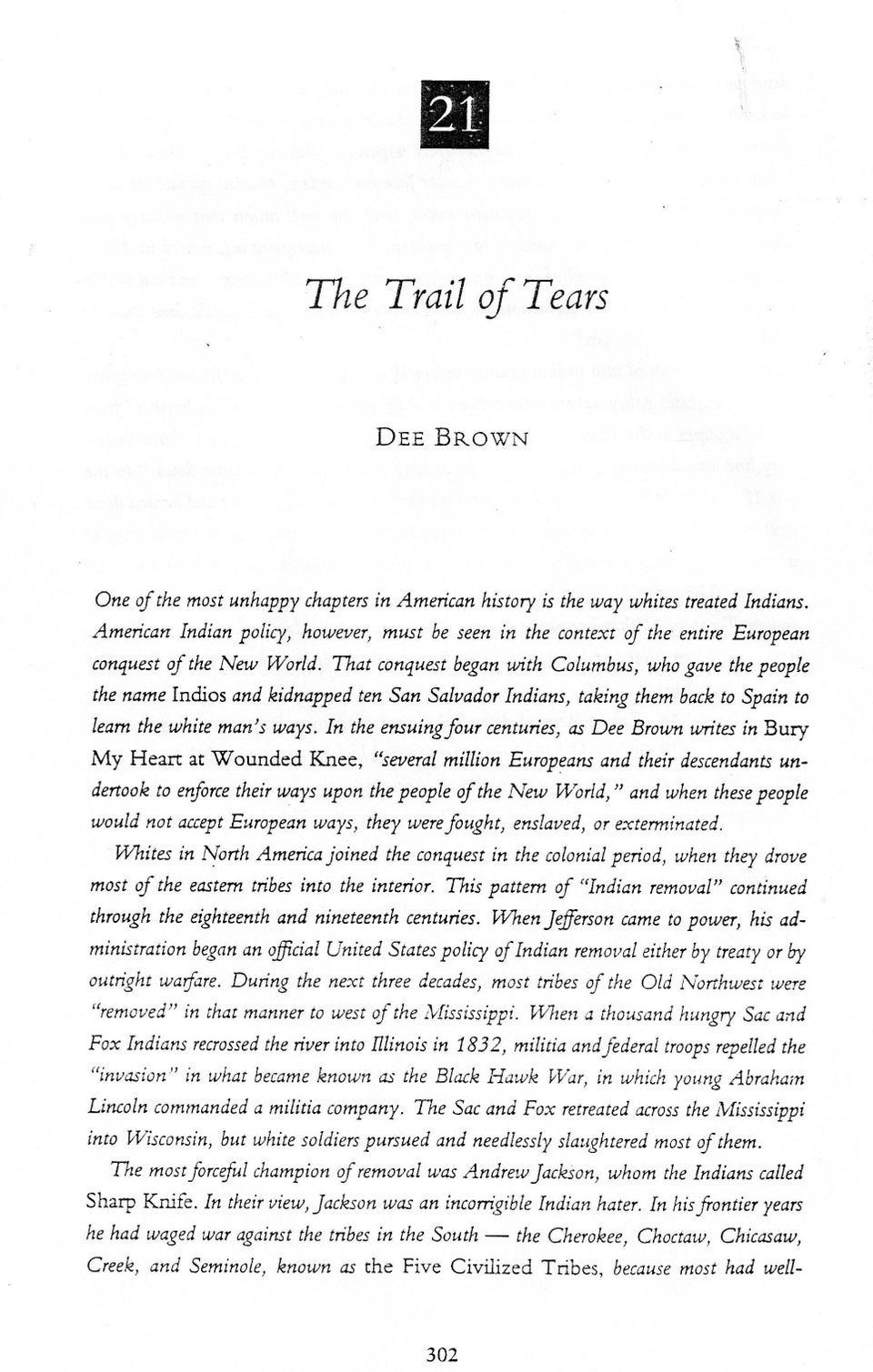 worksheet Trail Of Tears Worksheet the trail of tears dee brown my heart at wounded knee several that conquest began with columbus who gave people name indios and kidnapped ten