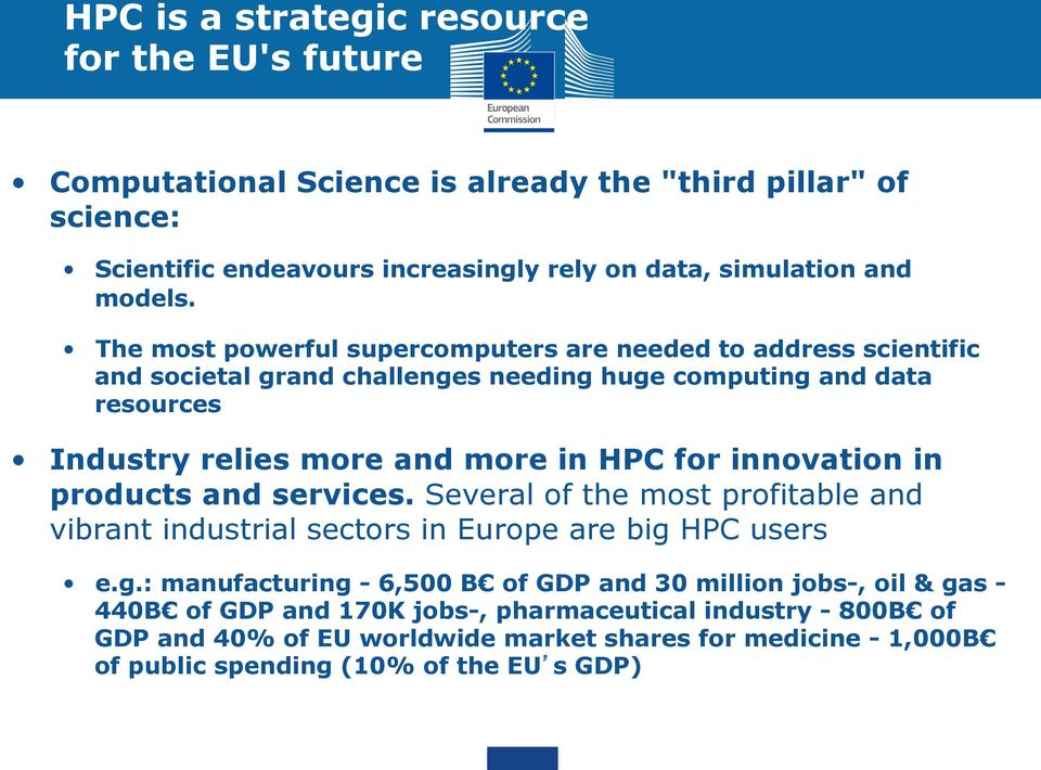 The most powerful supercomputers are needed to address scientific and societal grand challenges needing huge computing and data resources Industry relies more and more in HPC for