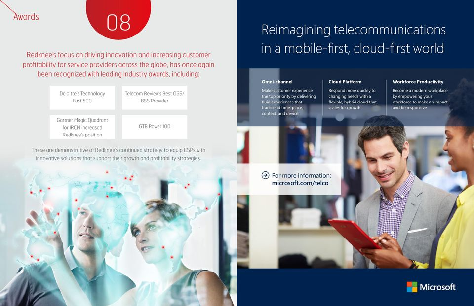 IRCM increased Fast 500 Redknee s position Telecom Review s Best Best OSS/ OSS/BSS Provider GTB Power 100 Make customer experience the top priority by delivering fluid experiences that transcend