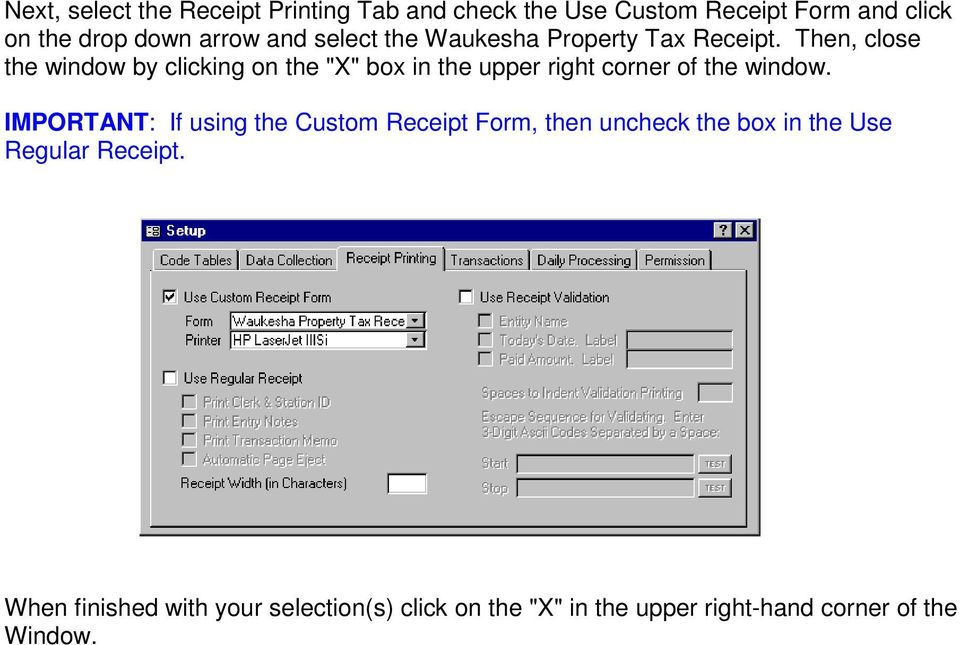 "Then, close the window by clicking on the ""X"" box in the upper right corner of the window."