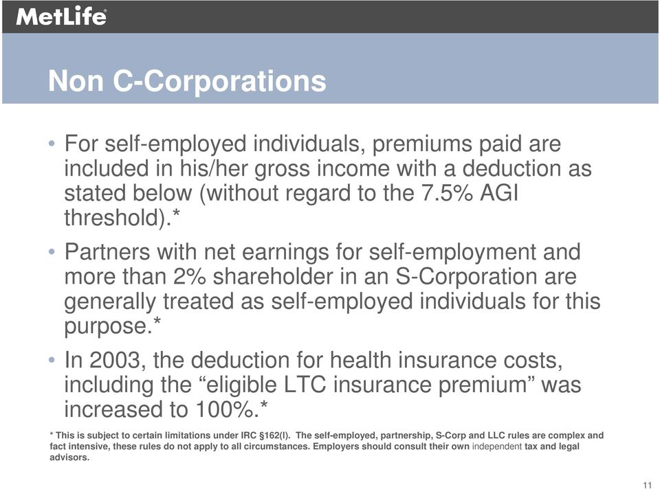 * In 2003, the deduction for health insurance costs, including the eligible LTC insurance premium was increased to 100%.* * This is subject to certain limitations under IRC 162(l).
