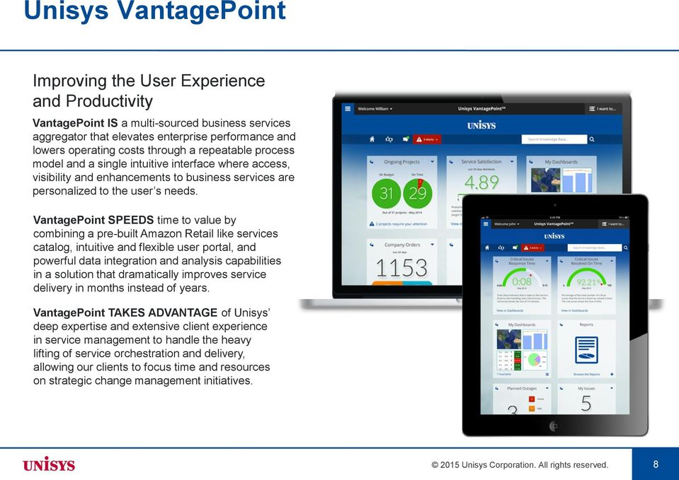 VantagePoint SPEEDS time to value by combining a pre-built Amazon Retail like services catalog, intuitive and flexible user portal, and powerful data integration and analysis capabilities in a
