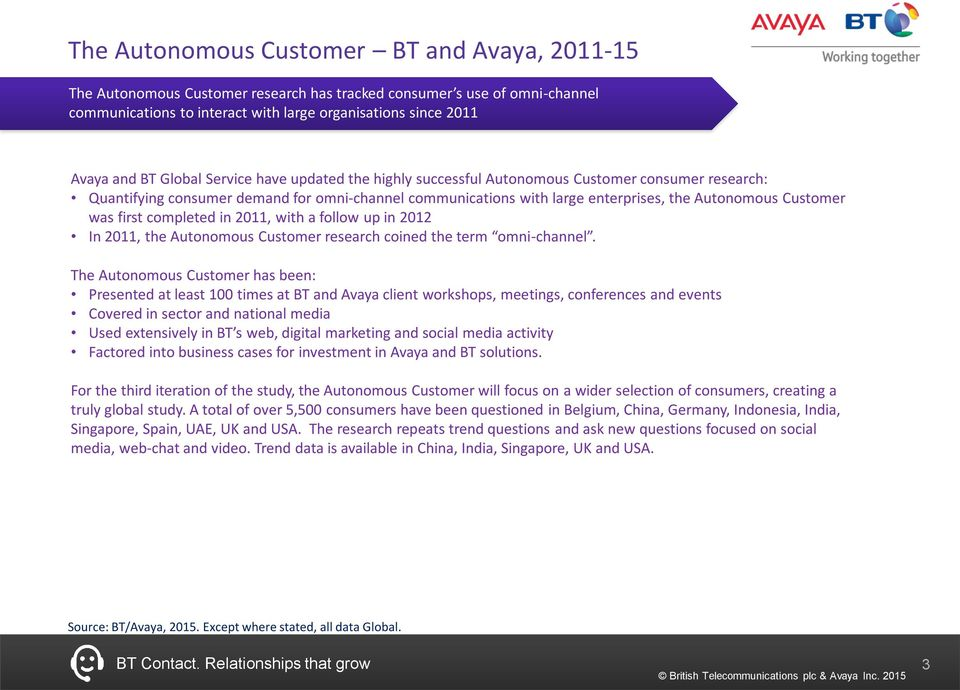 was first completed in 2011, with a follow up in 2012 In 2011, the Autonomous Customer research coined the term omni-channel.