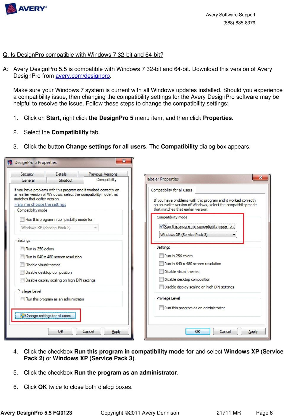 Avery designpro frequently asked questions pdf should you experience a compatibility issue then changing the compatibility settings for the avery designpro reheart Choice Image