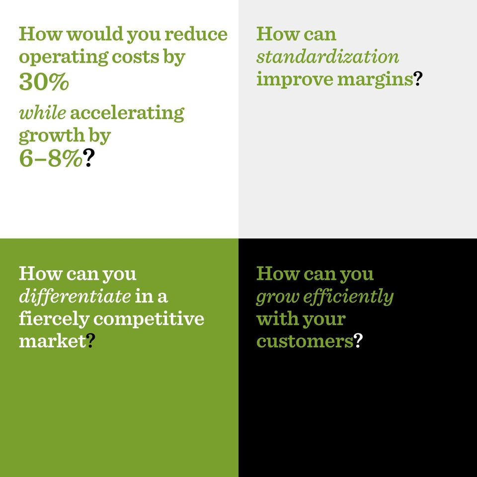 How can standardization improve margins?