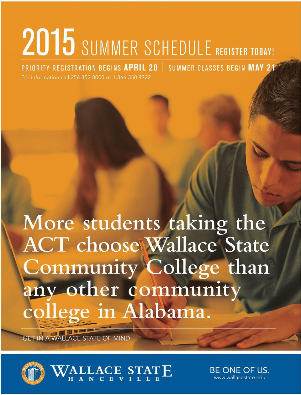 9722 A W A L L A C E S TAT E O F M I N D Off campus instructional sites: Wallace State Center Hayden High School Hayden, AL Wallace State Center J.B.