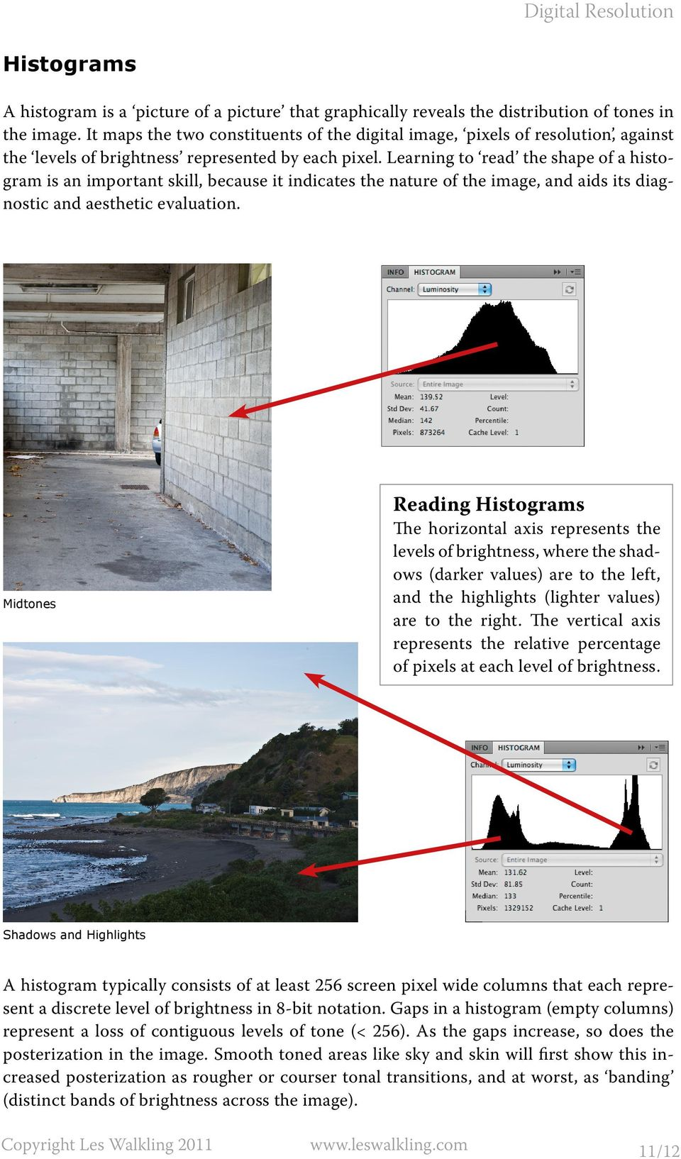 Learning to read the shape of a histogram is an important skill, because it indicates the nature of the image, and aids its diagnostic and aesthetic evaluation.