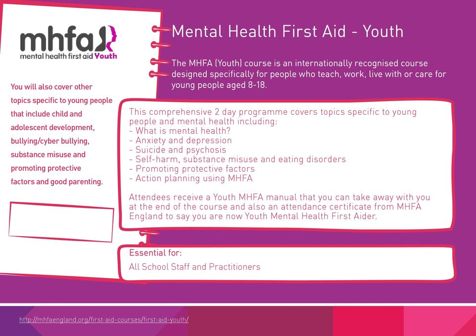 This comprehensive 2 day programme covers topics specific to young people and mental health including: - What is mental health?