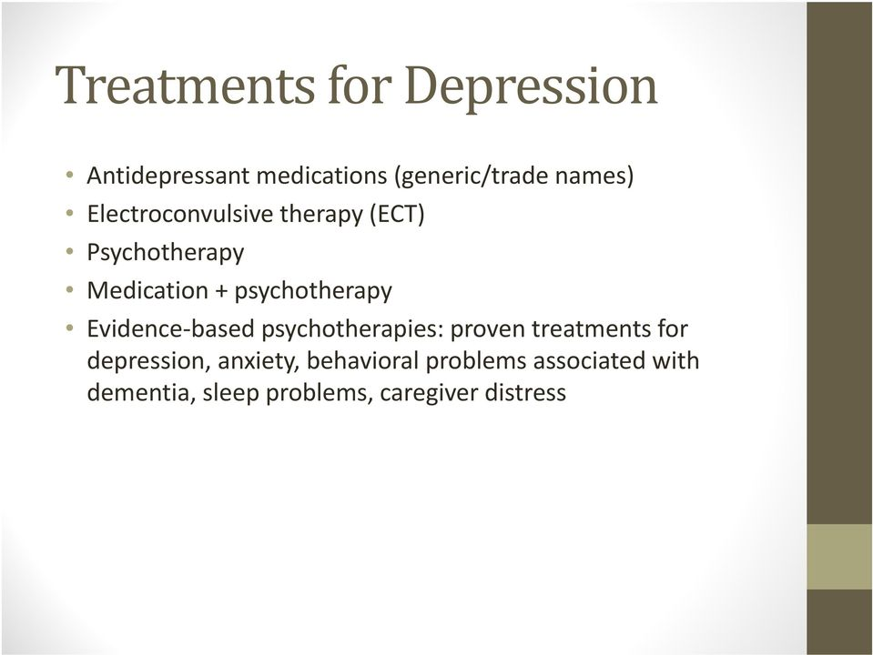 Evidence based psychotherapies: proven treatments for depression, anxiety,