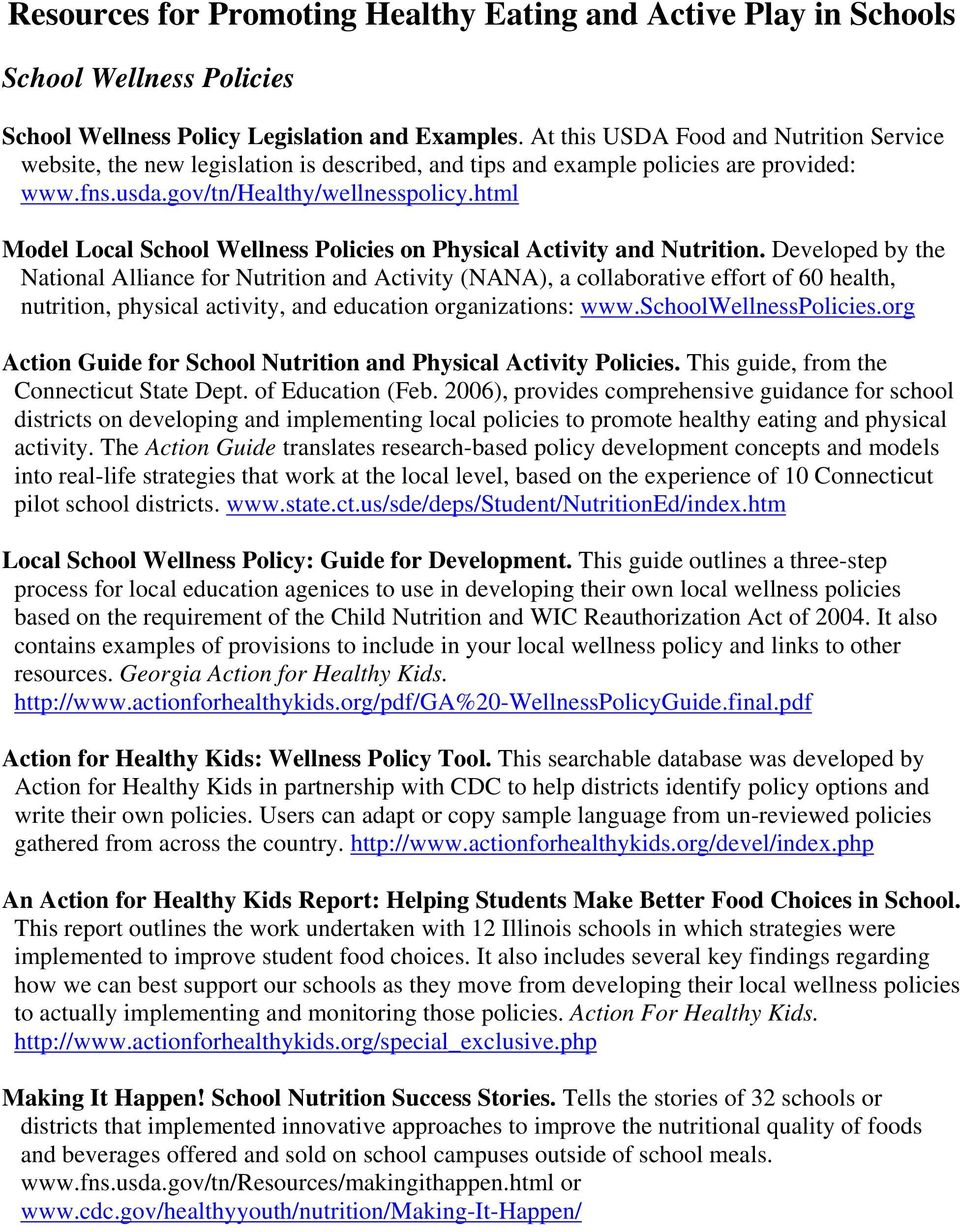 html Model Local School Wellness Policies on Physical Activity and Nutrition.